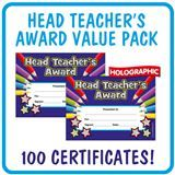 Value Pack Holographic 'Head Teacher's Award' A5 Certificates x 100