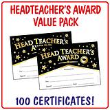 Head Teacher's Award Certificates Value Pack (100 Certificates - A5)