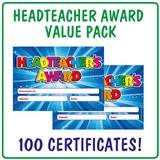Value Pack of 100 Head Teachers Award Blue Certificates