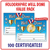 Holographic Well Done Certificates Value Pack (100 Certificates - A5)
