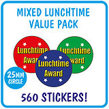 Lunchtime Award Stickers Value Pack (560 Stickers - 25mm)