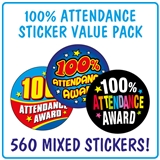 100% Attendance Stickers (560 Stickers - 25mm) Brainwaves