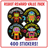 Robot Reward Stickers (400 Stickers - 32mm) Brainwaves