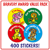 Bravery Award Stickers (400 Stickers - 32mm) Brainwaves