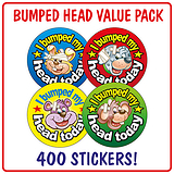 I Bumped My Head Today Stickers (400 Stickers - 32mm) Brainwaves