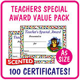Jellybean Scented Teacher's Special Award Certificates Value Pack (100 Certificates - A5)