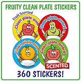Fruity Scented Stickers Value Pack - Clean Plate Award (360 Stickers - 32mm)