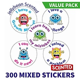 Scented Growth Mindset Stickers Value Pack - Jellybean (300 Stickers - 25mm)