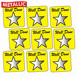 Metallic Star Stickers - Well Done - Yellow (140 Stickers - 16mm)