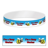 I'm a Busy Worker Adhesive Paper Wristbands (10 Wristbands - 220mm x 15mm)