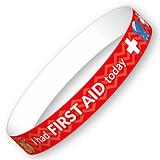 I had FIRST AID today Wristbands (10 Wristbands - 265mm x 18mm)