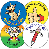 Welsh Phrase Stickers - Characters (35 Stickers - 37mm)