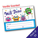 'Well Done' Vanilla Scented A5 Monster Certificates x 20