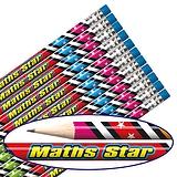 Maths Star Foil Pencils (12 Pencils) Brainwaves