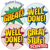 Scented Sherbet Stickers - Comic Book (35 Stickers - 37mm)
