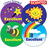 35 Mixed Excellent 37mm Cherry Scented Stickers