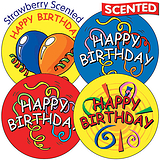 Scented Strawberry Stickers - Happy Birthday (35 per sheet - 37mm)