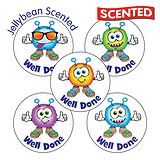 Scented Jellybean Stickers - Well Done Monsters (30 Stickers - 25mm)