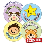 Scented Sweet Shop Stickers - Hard Work Rewards (20 Stickers - 32mm)