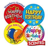 Scented Strawberry Stickers - Happy Birthday (20 Stickers - 32mm)