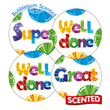 Scented Bubblegum Stickers - Mixed Wording (20 Stickers - 32mm)