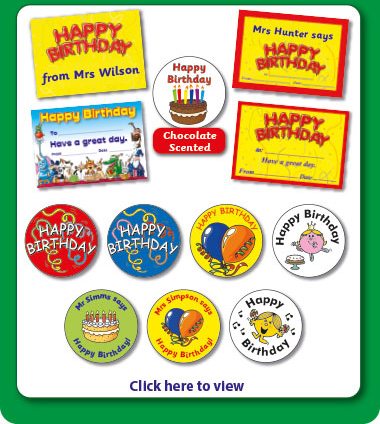 Birthday Certificates, Postcards & Stickers