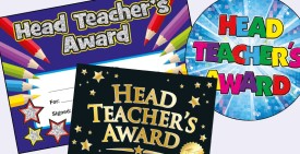 Head Teacher Certificates, Stickers, badges and pencils