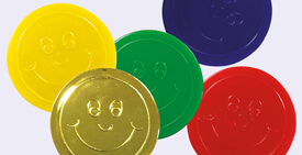 School Plastic Tokens for use by teachers as merits or rewards in Primary or Secondary