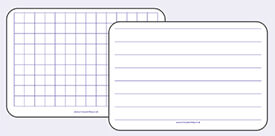 A4 Mini Whiteboards in Square grids, lined or handwriting guidelines