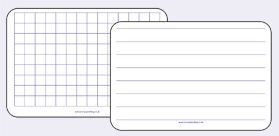 Write and Wipe Whiteboards in Square grids, plain, lined or handwriting guidelines
