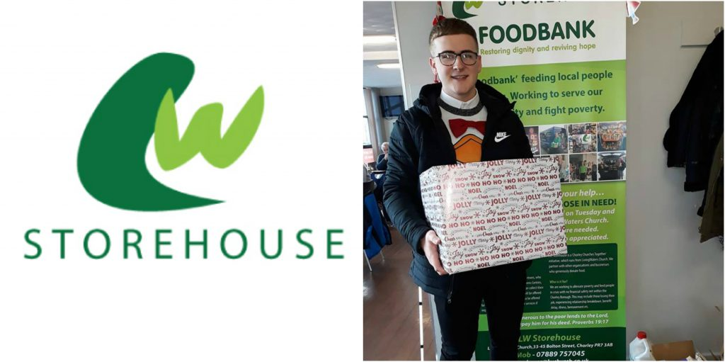 Lewis takes our collection boxes to our local food bank