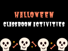 "Banner Image with the words ""Halloween Classroom Activities"" and a skull design."