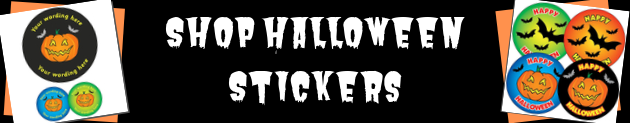 """Banner Advert with the wording """"Shop Halloween Stickers"""""""