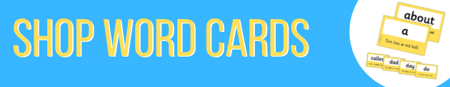 "Ad banner for word cards on the ""How to support home reading"" blog"