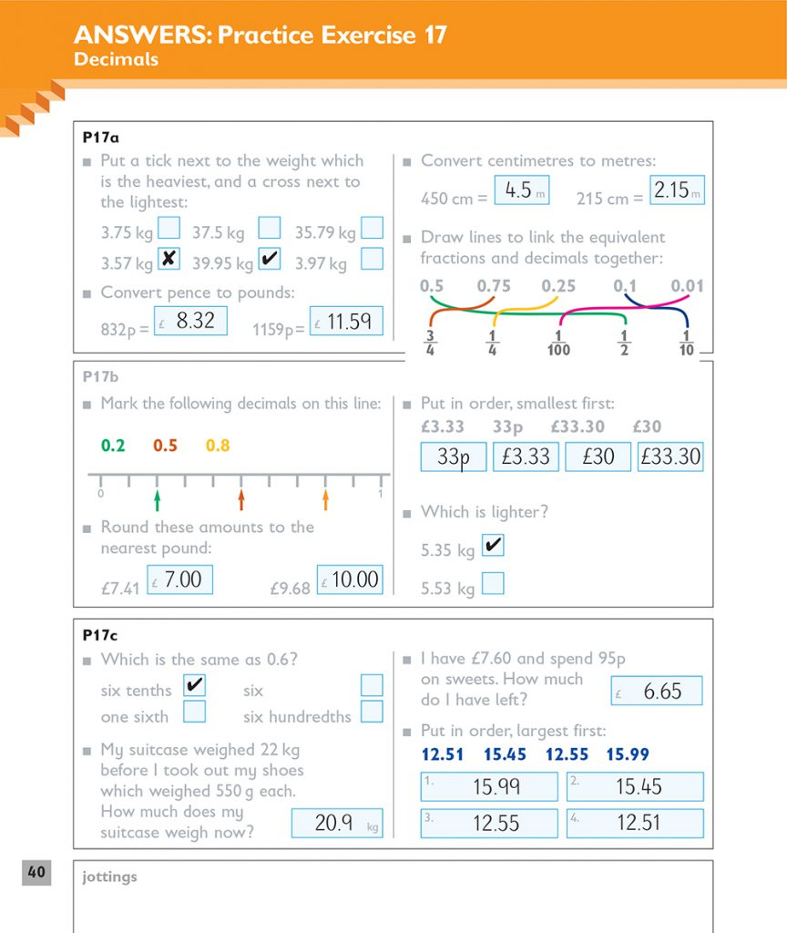 Mathematics Workabooks Answer Pages