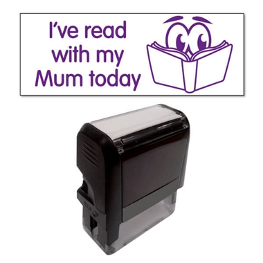 """I've read with my Mum today"" Stamper - Purple Ink (38mm x 15mm)"