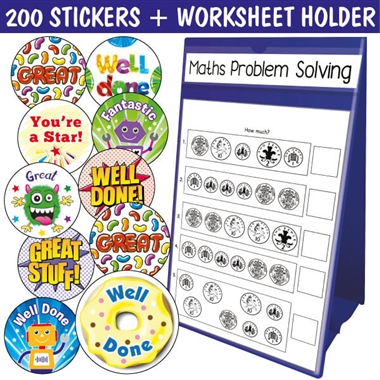 *Special Offer* A4 Blue Worksheet Holder Portrait plus 200 Scented Stickers