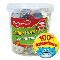 100% Attendance Animal Badge Pot (100 Badges - 38mm) Brainwaves