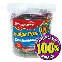 100% Attendance Award Badge Pot (100 Badges - 38mm) Brainwaves
