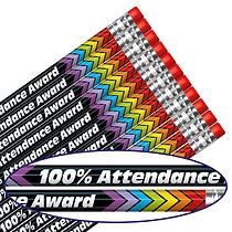 100% Attendance Award Foil Pencils (12 Pencils) Brainwaves