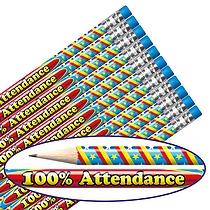 100% Attendance Foil Pencils (12 Pencils) Brainwaves