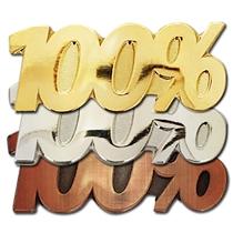 100% Attendance or Score Metal Badge (3 Colour options)