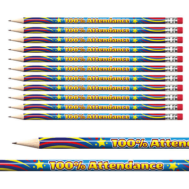 100% Attendance Pencils (12 Pencils) Brainwaves
