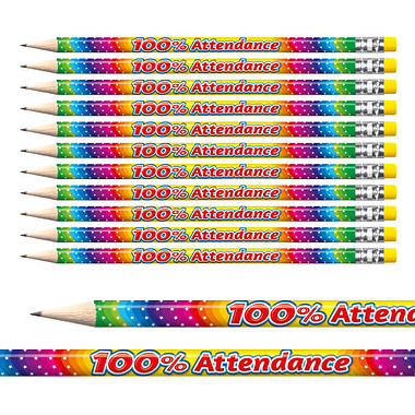 100% Attendance Rainbow Foil Pencils (12 Pencils) Brainwaves