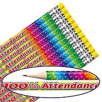 100% Attendance Rainbow Foil Pencils (12 Pencils) Brainwaves