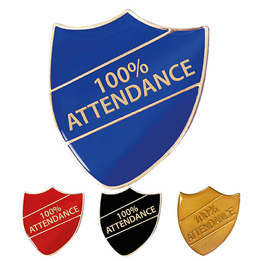 100% Attendance Shield Badge (4 Colour options)