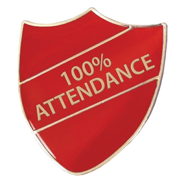 100% Attendance Shield Badge (Red)