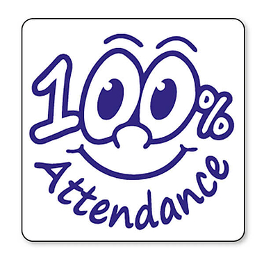 100% Attendance Stamper - Blue Ink (25mm) Brainwaves