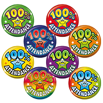 100% Attendance Star Badges - Maxipack (40 Badges - 38mm) Brainwaves