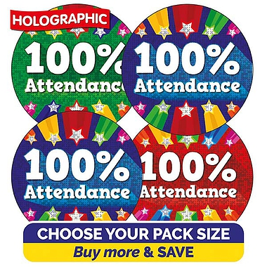 100% Attendance Stickers (37mm)